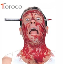 TOFOCO Hot Funny Tricky Toys Fake Plastic Knife/ Nail with Blood Through Head Scary Toys Fashion Halloween Toys