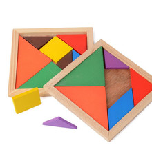 Quality Children Mental Development Tangram Wooden Jigsaw Puzzle Educational Toys for Kids Free Shipping(China)