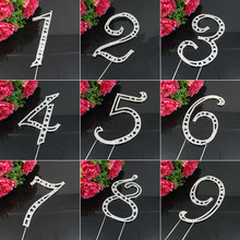 Large Diamante Rhinestone Crystal MONOGRAM LETTER 0-9 Cake Toppers For Wedding Birthday Party Decoration 1pcs(China)