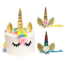 Unicorn Horns Cake Toppers Pick Unicorno Party Supplies Cartoon Kid Birthday Party Decorations Head Band With Strap(China)