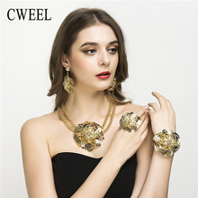 Women Jewelry Sets Wedding Fashion Flower Silver/Gold Color African Beads Vintage Party Statement Big Necklace Accessories(China)