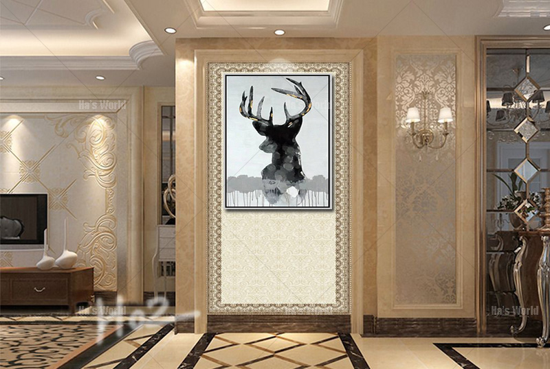 Free Shipping Modern Animal Paintings Hand Painted Deer Oil Paintings On Canvas Wall Art Unframed Bedroom Decoration Pictures(China (Mainland))