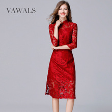 5XL slim collar slim lace dress cheongsam perspective Europe 2017 new large size seven point sleeve straight red festive dress(China)