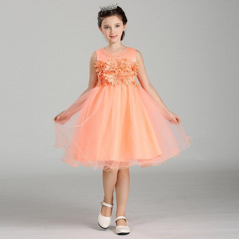 2017 New Sleeveless Waist Chiffon Beading Dress Girls Toddler 3D Flower Tutu Layered Princess Party Bow Kids Formal Dress<br><br>Aliexpress