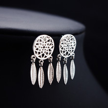 Fashion 925 Sterling Silver Bohemia Nationality Indian Feather Dream catcher Dreamcatcher Stud Earrings For Women Fine Jewelry