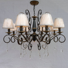 110V/220v Country Style Modern Crystal Chandelier with Shade E14 Vintage Home Lighting Wrought Iron Black Crystal Chandelier