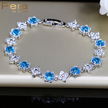 Pera Fashion Female Jewelry Star Shape Light Blue Anstrian Crystal Stone Sterling Silver Bracelets For Women Christmas Gift B019
