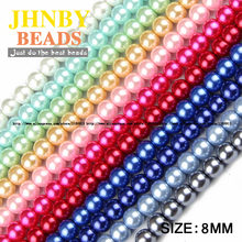 JHNBY High quality 8MM 100pcs Loose Beads ball Round Assorted Colorful lacquer that bake Glass Bead Jewelry Bracelet Making DIY()