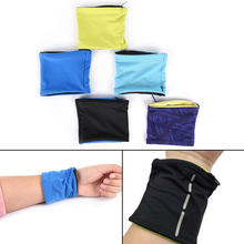 Double Lycra Fitness Cycling Sports Wristband 1PCS Zipper Pocket Wrist Support Wrap Straps Volleyball Badminton Sweatband 5Color(China)