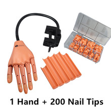 Professional Nail Art Trainer Hand+200 Tips Adjustable Model Hand Practice DIY Gel Polish Acrylic Nail Training Manicure Tool