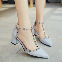 High Quality New Designer Rivet Shoes Patent Leather Studded Slingback Heels Sandals Sexy Women High Heels Sandals Pumps 2053