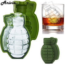 New 3D Grenade Shape Ice Cube Mold Ice Cream Maker Party Drinks Silicone Trays Molds Kitchen Bar Tool, A Great Mens Gift(China)