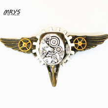 steampunk jewelry gothic bird skull head wings watch gears collar brooch pins metal men women fashion vintage cool jewelry DIY(China)
