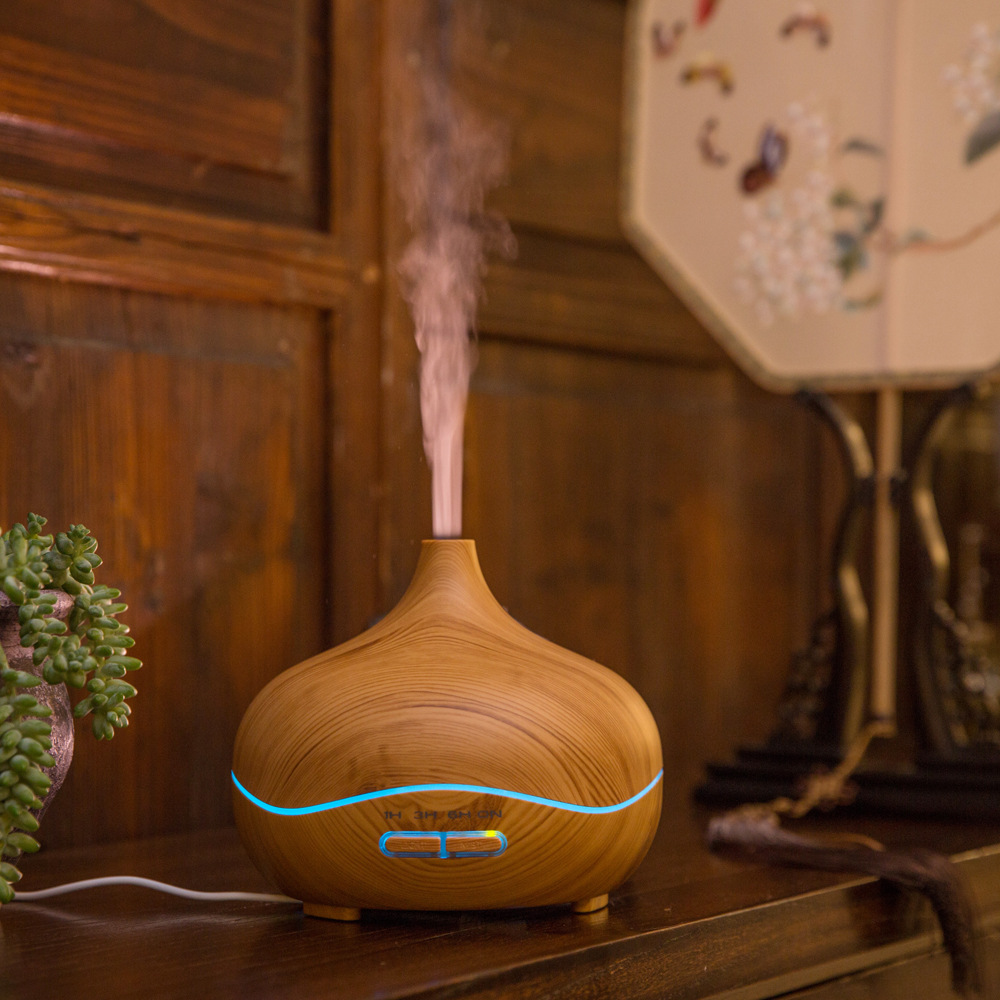 AC 110-240V 14W 300ML Aromatherapy Essential Oil Diffuser Cool Mist Humidifier Wood Grain Ultrasonic Aroma Mist Maker<br>