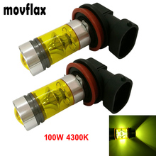 2pcs! H8 H11 4300K Yellow LED Car Fog Light Bulb High Power 100W Auto Driving Projector Daytime Running Lamp DRL(China)