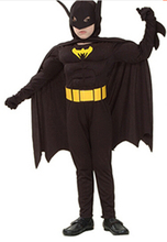 halloween batman costume super hero costume 110-140cm muscle  carinval boy birthday  party gift jumpsuit+cloak+belt