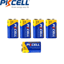 5pcs* pkcell 9 v batteries 6F22 Single-sex zinc carbon battery  Super Heavy Duty  Battery in bulk For Radio,Camera,Toys etc
