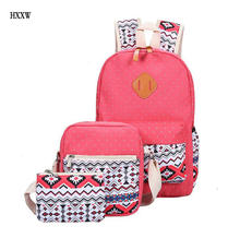 3 Pcs/set polka dot women backpack canvas printing school bags for teenagers girls backpacks cute schoolbag kids pen pencil case
