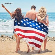 UFRIDAY The United States Independence Day USA Flag Beach Towel Summer American Flag Round Beach Towel With Tassel Printed Shawl