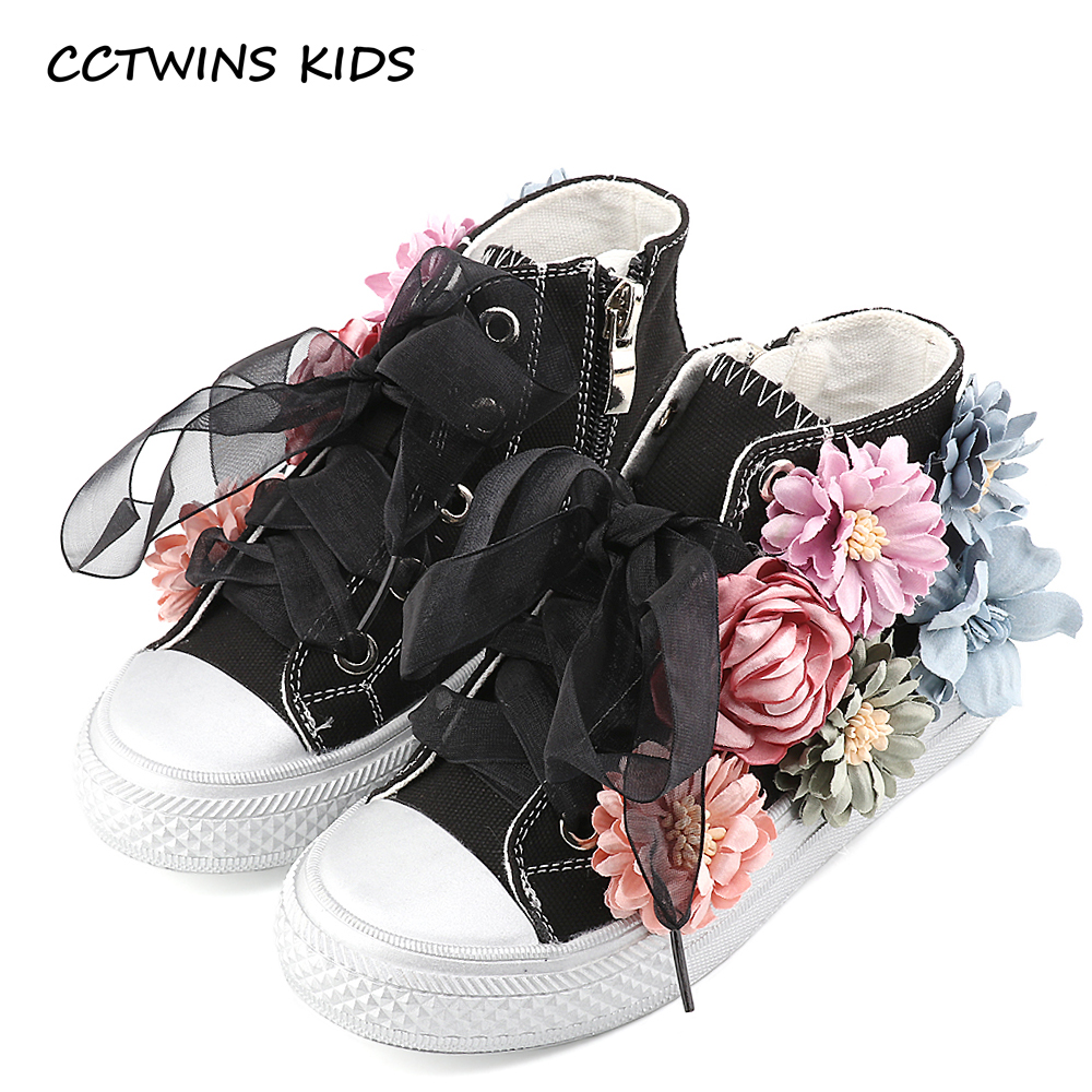 CCTWINS KIDS 2017 Toddler Canvas High Top Lace Shoe Children Girl Baby Brand Sneaker Kid Fashion Floral White Trainer F1535