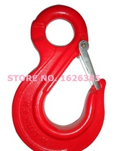 1.12--3.15Ton eye sling hook with latch industrial grade lifting rigging hardware forged alloy steel hoist hook crane  chain