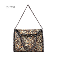 Autumn and winter Women bag new snake pattern shoulder bag three chain bag folding handbags lady leopard pattern PU leather bag(China)
