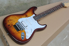Custom Guitar Burl pattern natural satinwood body electric guitar Floyd rose tremolo Stratocaster  Electric Guitar 914