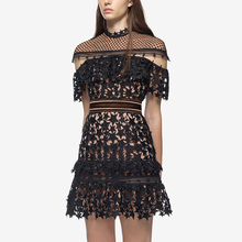 2017 Fashion New Sexy Hot Spring and Summer Hollow Out Stand Neck Stars Black Lace Women Dress Party Dress