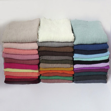 Bubble Scarf Shawl Hijab Head-Wrap Fringes Crinkled Muslim Plain-Colors Large-Size High-Quality