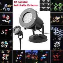 Outdoor 12 Patterns Christmas Laser Snowflake Projector LED Waterproof Disco Lights Home Garden Star Light Indoor Decoration(China)