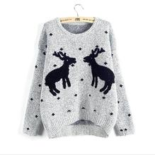 2017 New Winter Reindeer Christmas Sweater Women Female Deer Pullovers Long-sleeve Knit Pullover Women Lady Sweaters