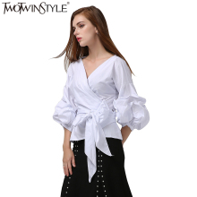 TWOTWINSTYLE Kimono Plaid Top Female Blouse Women's Shirt Puff Sleeve Lace up Sexy Tunic Tops Casual Clothes Korean Fashion 2017(China)
