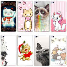 139GG Lovely Kitty Cat Pink Polka Dots Hard Transparent Cover for Huawei P7 P8 P8 P9 Lite Honor 4C 5C 6 7 8 & Nova