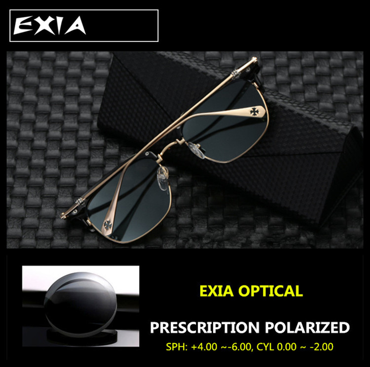 Prescription Eyewear Men Driving Sunglasses Polarized Grey Lenses Single Vision Optical AR Green EXIA OPTICAL KD-102 Series(China (Mainland))