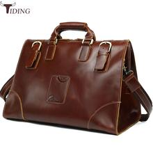 Tiding Fashion Large Mens Travel Bag Genuine Leather Luggage Bags Women Duffle Shoulder Bag Tote Weekend Bag Brown Zip Carry On