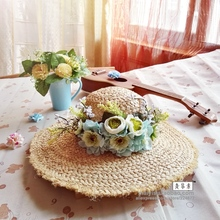 garland campaigners Raffia straw hat large beach hat women floppy wide brim female sun-shading straw hat sun beach ha(China)