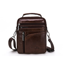 Brand Genuine Cow Leather Small Casual&Bussiness Bag Men's Handbag Crossbody Shoulder Bags Messenger Bag Zipper Pack For Travel(China)