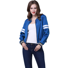 2017 Tops Fashion spring gilrs Casual Baseball Jacket Outerwear Pullover Suit Jackets Base Ball Suit royal blue zipper coat