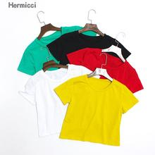 Hermicci Women's Solid Color Plain T Shirt Crop Top Women 2017 Summer Short Sleeve O Neck T-shirts Black White Tees Femme