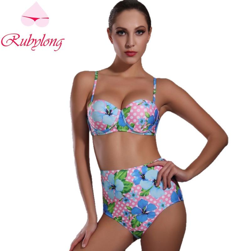 Rubylong 2017 Hot High Waist Underwire Bikini Swimwear Women Sexy Halter Pad Push Up Swimsuit Bikini Set Beachwear Bathing Suit<br><br>Aliexpress