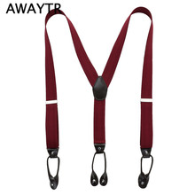 AWAYTR Fashion Man's buttons Suspenders Unisex 6 Button holes Leather Fittings Braces Y-Back Red ine Ligas Tirantes 3.5*120cm