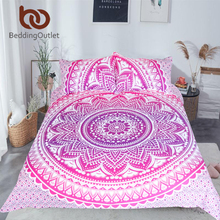 BeddingOutlet Pink Mandala Flower Duvet Cover Set With Pillowcase Bohemia Girls Bedding Set Queen Size Bedspread 3Pcs(China)
