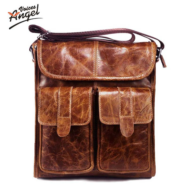 2016 New Arrival Mens Shoulder Bag Satchel Genuine Cowhide Leather Messenger Bags For Men Rugged Portfolio<br>