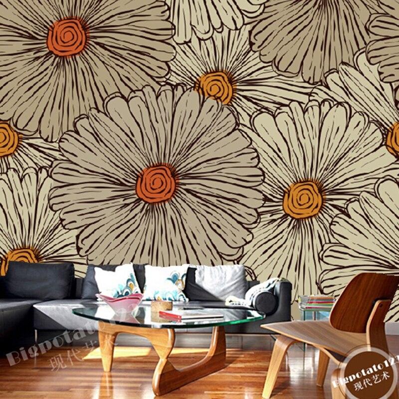 Custom vintage wallpaper, hand painted flowers for living room bedroom restaurant background wall waterproof embossed wallpaper<br>