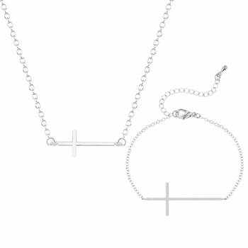 Kinitial 2pcs Necklace/Bracelet Pendant Jewelry Sets For Women Gold/Silver Plated Copper Cross Christians Fashion Wedding Daily