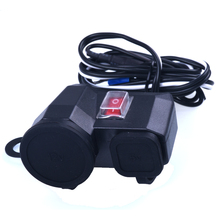 USB Motorcycle Charger + Cigarette Lighter Waterproof Power Socket Outlet with Switch Vehicle-mounted Power Supply(China)