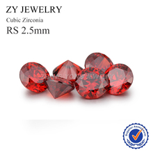 Good Quality 2.5mm Round Shape Loose CZ Stone Garnet Synthetic Gemstone Beads(China)