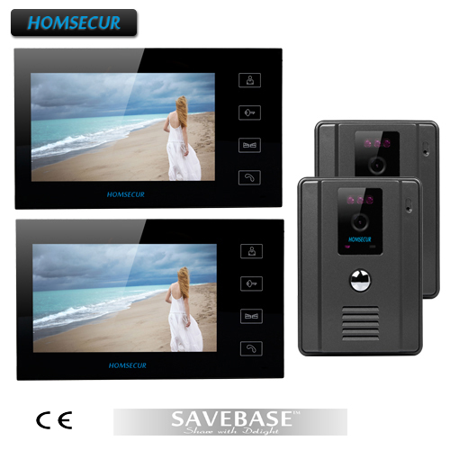 "HOMSECUR New Wired 7"" 2V2 Color LCD Video Door Phone Intercome+ 2 Monitors+2 Cameras(China (Mainland))"