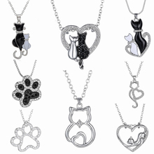 New Lovely Cat Paw Black White 2 cat On Heart Crystal Pendant Necklace For Women Girl Best Friend Gift Small Cat Jewelry(China)