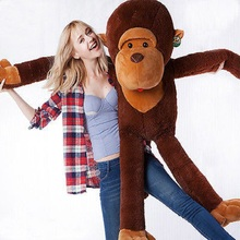 2016 New Cute  Stuffed Giant 130CM Big Brown Plush,Monkey Huge Soft 100% Cotton Doll Toy Children's Toys
